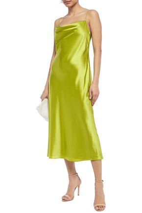 Cinq À Sept Marta Draped Silk-satin Midi Slip Dress In Lime Green