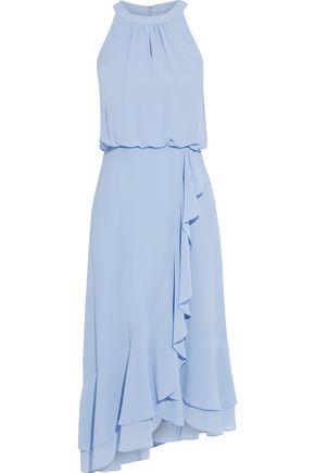 IRIS & INK Eucalyptus ruffled crepe midi dress