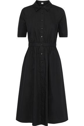 IRIS & INK Rose gathered cotton-poplin shirt dress