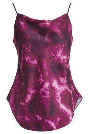 CINQ À SEPT Marta draped tie-dyed satin-twill camisole