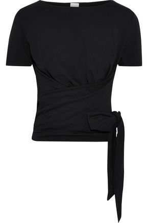 IRIS & INK Darian cotton-jersey wrap top
