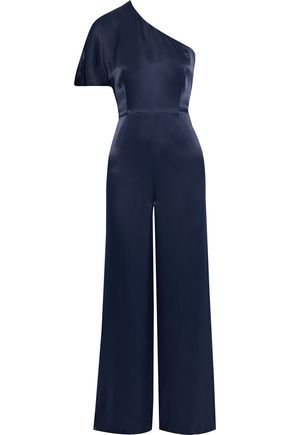 IRIS & INK Carnation one-shoulder satin-twill wide-leg jumpsuit