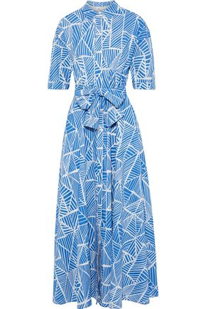 IRIS & INK Pindo belted printed cotton-voile maxi shirt dress