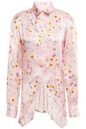 Y/PROJECT Asymmetric pleated floral-print silk-satin shirt