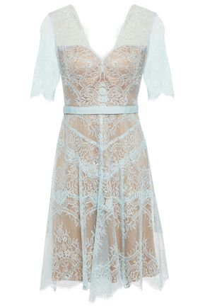 CATHERINE DEANE Neroli layered grosgrain-trimmed Chantilly lace dress