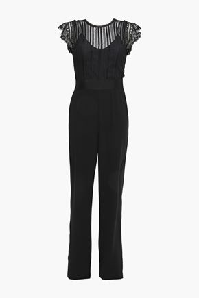 CATHERINE DEANE Iona lace-paneled crepe jumpsuit