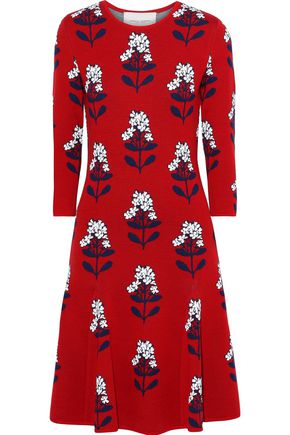 CAROLINA HERRERA Flared wool-blend floral-jacquard dress