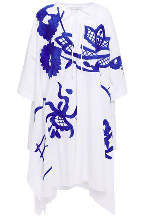 MARQUES' ALMEIDA Asymmetric oversized embroidered cotton-poplin mini dress