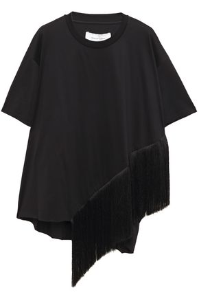 MARQUES' ALMEIDA Asymmetric fringe-trimmed cotton-jersey T-shirt