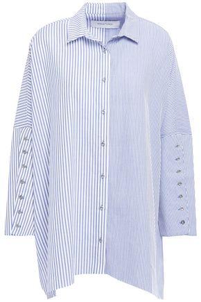 MARQUES' ALMEIDA Asymmetric button-embroidered striped cotton-poplin shirt