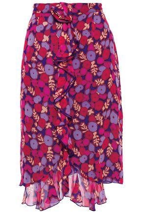 ANNA SUI تنورة غير متماثلة من قماش جورجيت الحريري المطبع بالورود مع كشكش