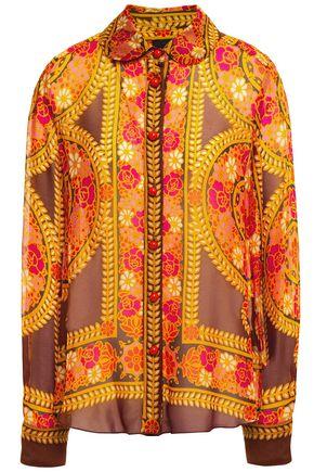 ANNA SUI قميص من قماش جورجيت المطبع برسومات