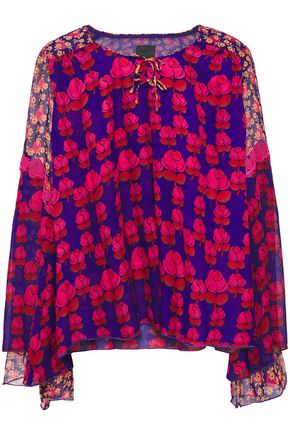 ANNA SUI Crepon-paneled lace-trimmed bow-embellished floral-print silk-gauze blouse