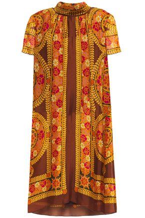 ANNA SUI فستان قصير بتصميم ملموم من قماش جورجيت المطبع برسومات