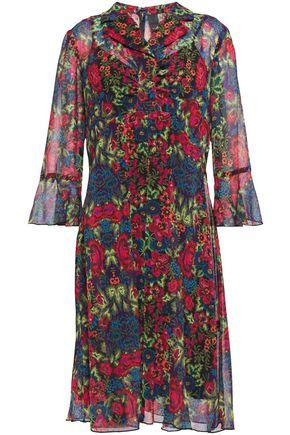 ANNA SUI فستان على شكل قميص بتصميم ملموم من قماش جورجيت المطبع بالورود