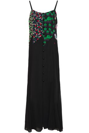ANNA SUI Crepon and georgette-paneled floral-print crepe maxi slip dress