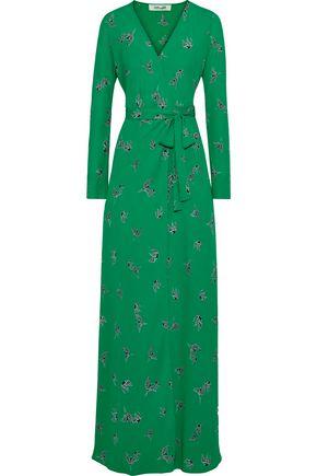 """DIANE VON FURSTENBERG فستان طويل """"بيغي"""" بتصميم ملفوف من قماش كريب دي شين المطبع برسومات"""
