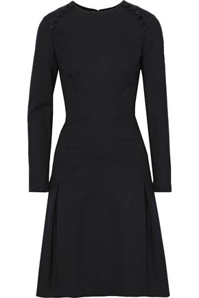 CAROLINA HERRERA Pleated button-embellished stretch-wool dress