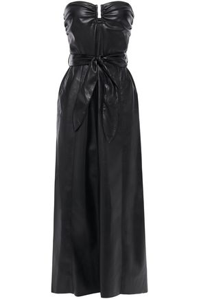 NANUSHKA Anja strapless vegan leather midi dress