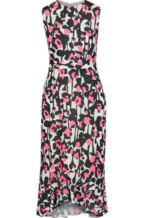 IRIS & INK Lady pleated printed crepe dress