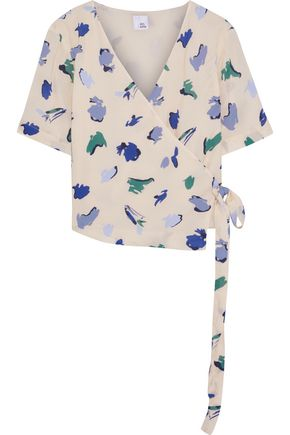 IRIS & INK Ponderosa printed crepe de chine wrap top