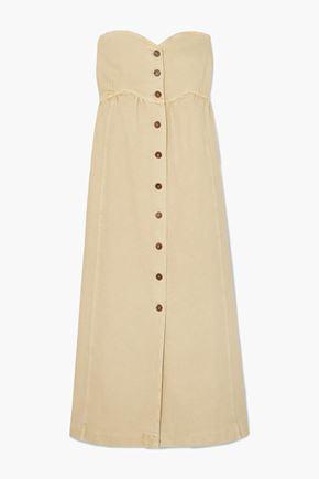 NANUSHKA Kaia strapless shirred denim maxi dress