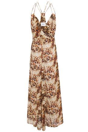 NANUSHKA Eden cutout printed cotton-voile maxi slip dress