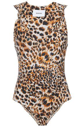 NANUSHKA Naif knotted leopard-print stretch-jersey bodysuit