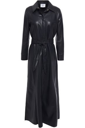 NANUSHKA Taurus faux leather midi shirt dress