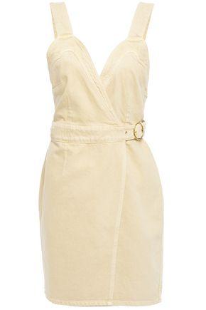 NANUSHKA Giza open-back buckled denim mini wrap dress