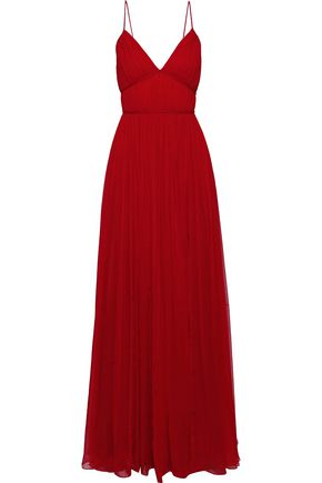 CAROLINA HERRERA Pleated silk gown