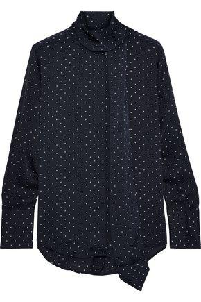 EQUIPMENT Luis tie-neck polka-dot washed-satin blouse