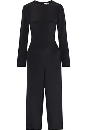 TIBI Cropped fringed silk crepe de chine jumpsuit