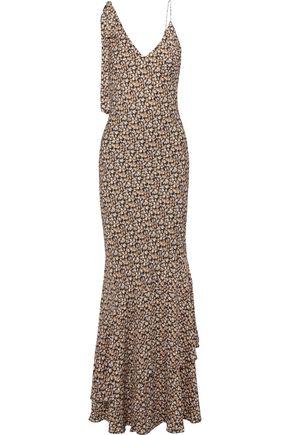 REBECCA VALLANCE Ellie bow-detailed floral-print crepe maxi slip dress