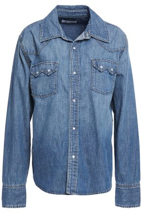 RE/DONE Sawtooth snap-detailed faded denim shirt
