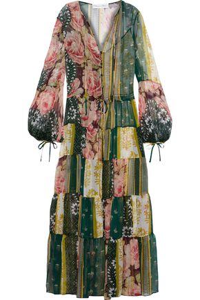 OSCAR DE LA RENTA Gathered printed silk-chiffon maxi dress