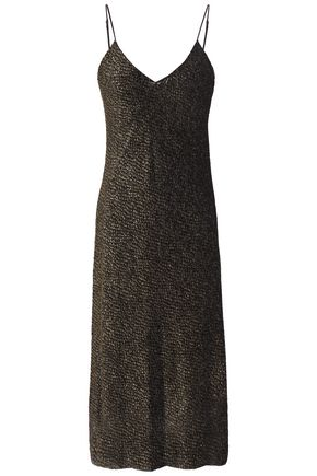 NILI LOTAN Metallic devoré-velvet slip dress