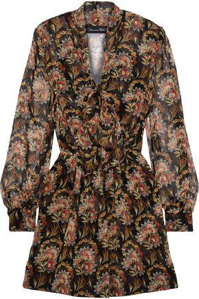 OSCAR DE LA RENTA Tie-neck pleated floral-print silk-chiffon mini dress