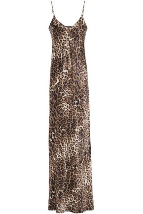 NILI LOTAN Leopard-print silk-satin maxi slip dress