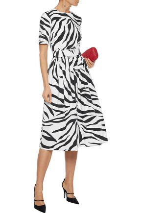 OSCAR DE LA RENTA Belted zebra-print stretch-cotton poplin dress
