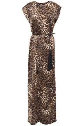 NILI LOTAN Lillian tassel-trimmed leopard-print silk-satin maxi dress