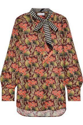 OSCAR DE LA RENTA Tie-neck printed silk blouse
