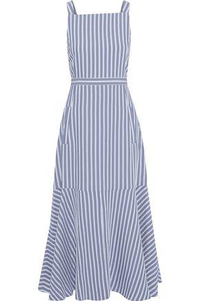 TIBI Fluted cutout striped twill midi dress