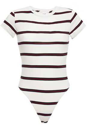 RE/DONE Striped cotton-jersey bodysuit