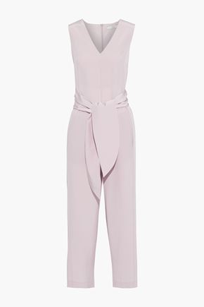 TIBI Cropped belted silk crepe de chine jumpsuit