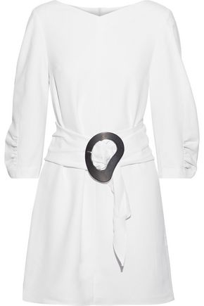 TIBI Belted crinkled-poplin mini dress