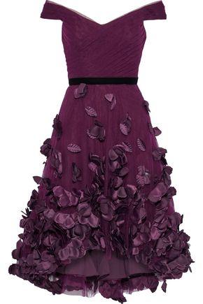 MARCHESA NOTTE Off-the-shoulder velvet-trimmed floral-appliquéd tulle dress