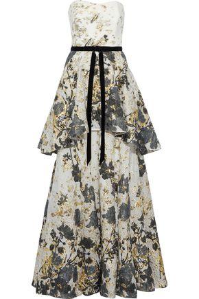 MARCHESA NOTTE Strapless velvet-trimmed fil coupé cloqué peplum gown
