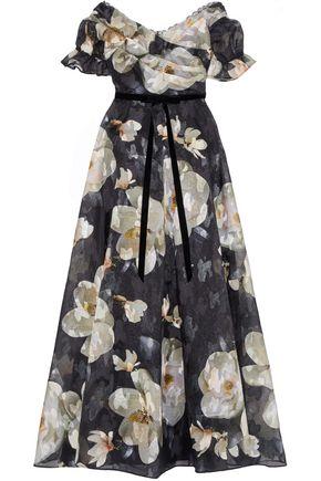 MARCHESA NOTTE Off-the-shoulder floral-print fil coupé organza gown