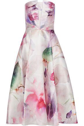 MARCHESA NOTTE Strapless floral-print satin-piqué midi dress